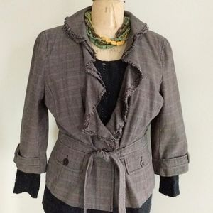 LOFT Belted Jacket with Ruffled Collar Size 16